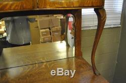 Antique Quarter Sawn Oak China Buffet Cabinet with Beveled Glass Circa 1910