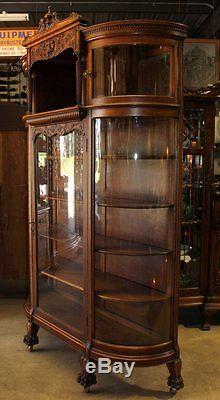 Antique Quartersawn Oak 4 Curve Glass Carved Canopy Face Clawfoot ...
