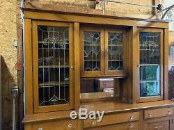 Antique Quartersawn Oak Back Bar / Leaded Glass Cabinet Doors/ Original Hdwre