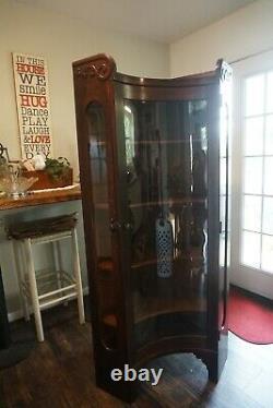 Antique Quartersawn Oak Concave Glass Corner Curio China Display Cabinet RARE