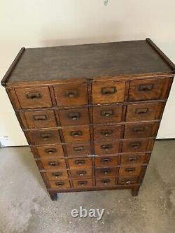 Antique Quartersawn Oak Yawman & Erbe Antique 28 Drawer Library File Cabinet