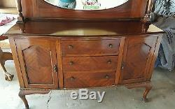 Antique Queen Anne Mirrorback Sideboard Server Buffet Table dresser