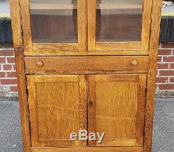 Antique Rustic Oak Glass Door Kitchen Hallway Cabinet Cupboard c1900