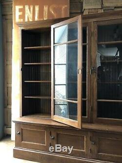 Antique School House Cabinet, Oak Farmhouse Cabinet, Large Glass Door Cabinet