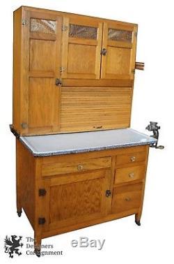 Antique Sellers Kitchen Cabinet Oak Hoosier Cupboard Grinder Rack Slag Glass