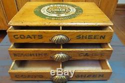 Antique Small J. P. Coats Thread Cabinet, Primitive, General Store, Sewing