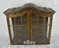 Antique Sold Wood Curio Cabinet Display Case Glass Front 3 Shelf Rare