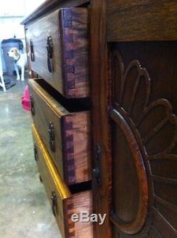 Antique Solid Oak Barley Twist Buffet Sideboard Server