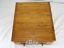Antique Solid Oak Library Card File Double File Table Top VTG Globe Wernicke