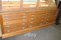 Antique Solid Pine 4 Glass Door and 15 Drawer Display Cabinet Early 1900's