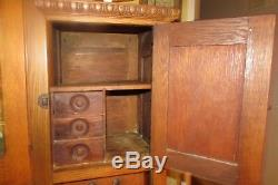 Antique Solid Wood Arch Glass Door Display Step Back Kitchen Cabinet #1931