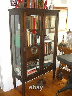 Antique Stained Oak China Cabinet 3 Shelves with 3 sides glass c. 1930's Depression