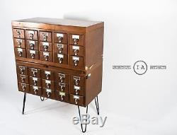 Antique Standing Card Catalogue with Pull-Out Counters