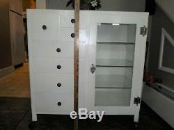 Antique Steel Apothecary Medical or Dental Cabinet Glass Door Shelves