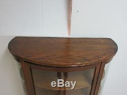 Antique Tiger Oak Carved Bow Glass Curio Crystal Cabinet China Hutch