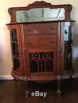Antique Tiger Oak Claw Foot Curved Glass China Curio Cabinet 2 Drawers 3 Doors