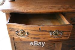 Antique Tiger Oak Hutch Highboy Cabinet Sideboard Buffet With Mirror