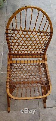 Antique Tubbs Sno Shu Vermont Oak And Rawhide Lodge/cabin Chair