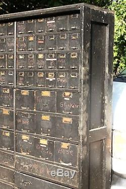 Antique VTG 1930s Industrial Apothecary Hardware Wood Cabinet Drawers W C Heller