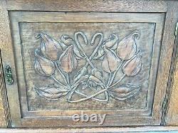 Antique Victorian Art Nouveau Oak Wall Mount Cabinet