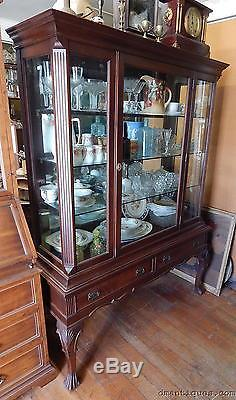Antique Victorian Carved Mahogany Queen Anne China Display Cabinet Mirror  Back