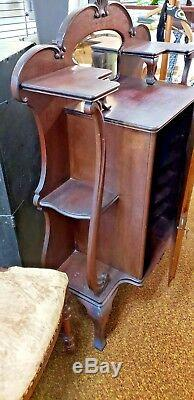 Antique Victorian Curio Cabinet Sheet Music Record Chest