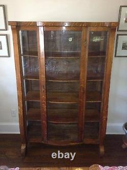 Antique Victorian Empire Oak China Cabinet BowithCurved Glass Front 62H x42W x16D