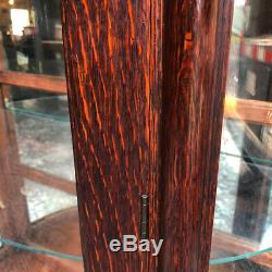 Antique Victorian Quartersawn Tiger Oak Bowed Curved China Cabinet