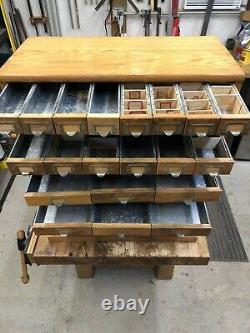 Antique Vintage 38 Drawer Watchmakers Jewelers Apothecary Oak Cabinet
