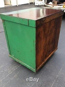 Antique / Vintage Green Wood 16 Drawer Shop Cabinet Great Look Very Good