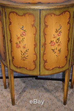 Antique Vintage Hand Painted 2 Door Demi Lune Florentine