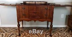 Antique Vintage Mahogany Wood Flip Top Bar Server Pop Up Bar Cabinet Free ship