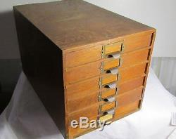 Antique Vintage Oak 6 Drawer File Cabinet Library Weis Dovetailed