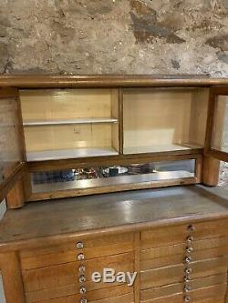 Antique Vintage Oak Dental Medical Cabinet Circa 1910 Harvard Cabinet Company