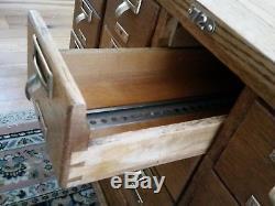 Antique Vintage Oak Library Card File Cabinet 15 Drawer