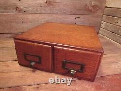 Antique Vintage THE WABASH CABINET CO. 2 drawer Card Catalog File Wood Cabinet