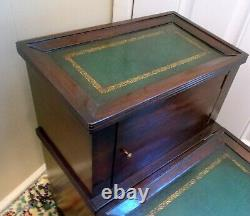 Antique Vtg LIBRARY BED STEPS Table Storage Tooled Gilt Green LEATHER Mahogany