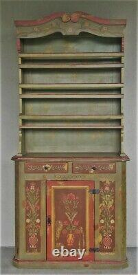 Antique Vtg Swedish German French Country Painted Cabinet Hutch Cupboard Pantry