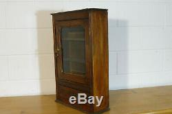 Antique Wall Cabinet Cupboard Hanging Cabinet Oak Wood Vintage