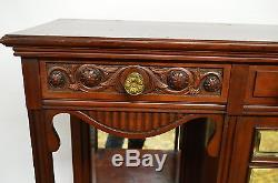 Antique Walnut Carved Mirrored Etagere Display Cabinet Tall TV Stand Buffet