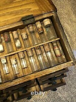 Antique Watchmaker 21 Drawer Work Cabinet with Original Glass Vials for Parts