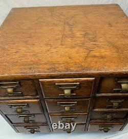 Antique Wood 19 x 19 x 16 Oak 12 Drawer Library Card Catalog Cabinet RARE