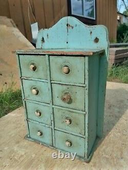 Antique Wood 8 Drawer Spice Apothecary Wall Cabinet Box Orginal Primitive Paint