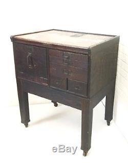 Antique Wood Card Catalog Oak File Cabinet Stacking Barrister Office Storage Vtg