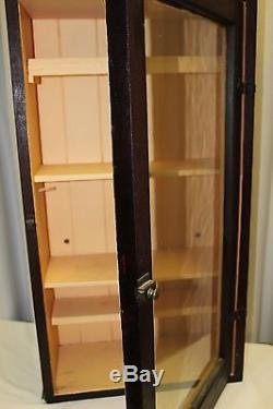 Antique Wood MEDICINE APOTHECARY CABINET Wall /Counter Cupboard w Glass