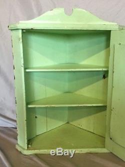 Antique Wood Medicine Cabinet Corner Cupboard Mirror Shabby Vtg Chic 10-19C