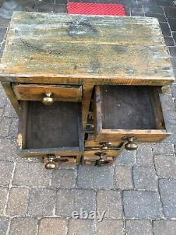 Antique Wooden Industrial Cabinet Hardware Tools Parts Smalls 36x17x10