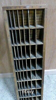 Antique Wooden Printers File Pigeon Hole Type Block Cabinet Hamilton Co Wisconsi