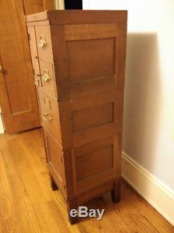 Antique Yawman and Erbe Tiger Oak Standing File Cabinet 1914