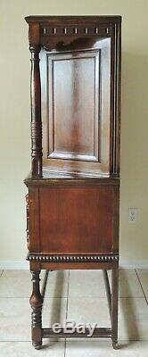 Antique c1920s Ornate Berkey & Gay Carved Solid Mahogany China Cabinet Hutch